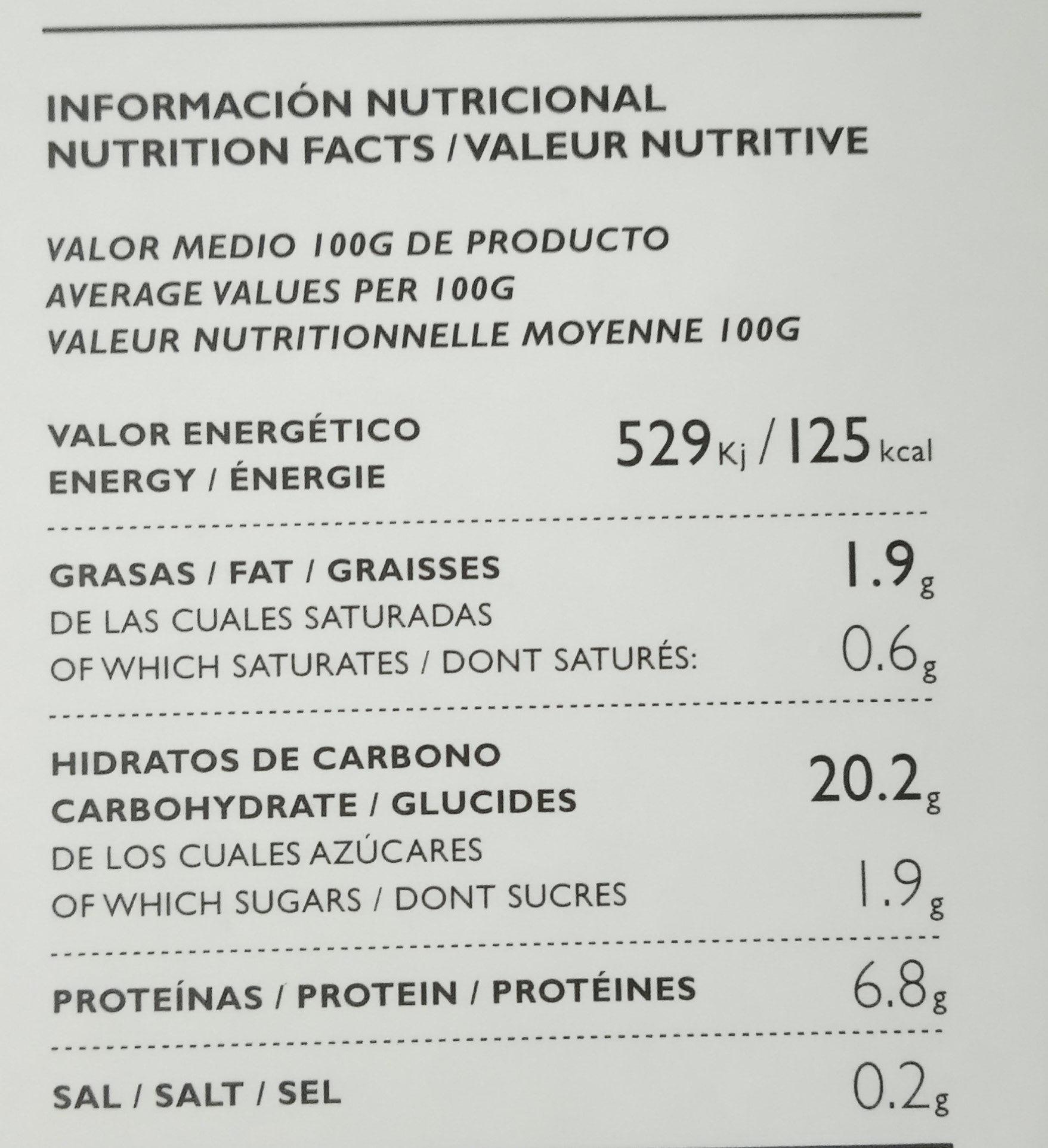 Arroces Don Bocarte con boletus de temporada - Información nutricional