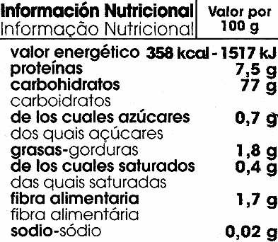 Fusilli de maíz - Información nutricional - es