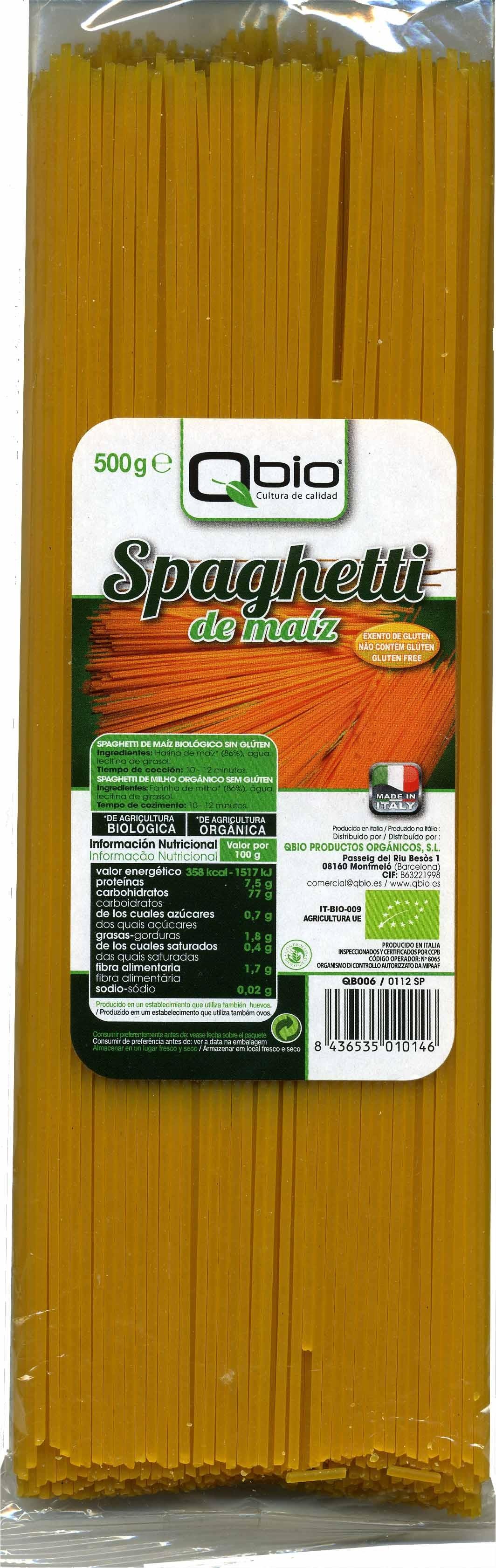 Spaghetti de maíz - Producte