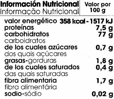 Spaghetti de maíz - Informations nutritionnelles