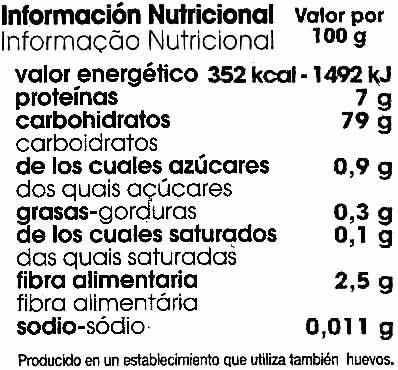 Spaghetti de arroz - Información nutricional - es