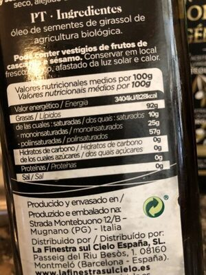 Aceite de semillas de girasol - Información nutricional