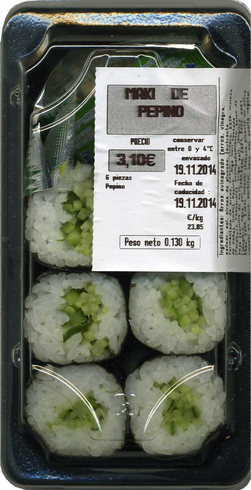 Maki sushi vegetal de pepino - Product