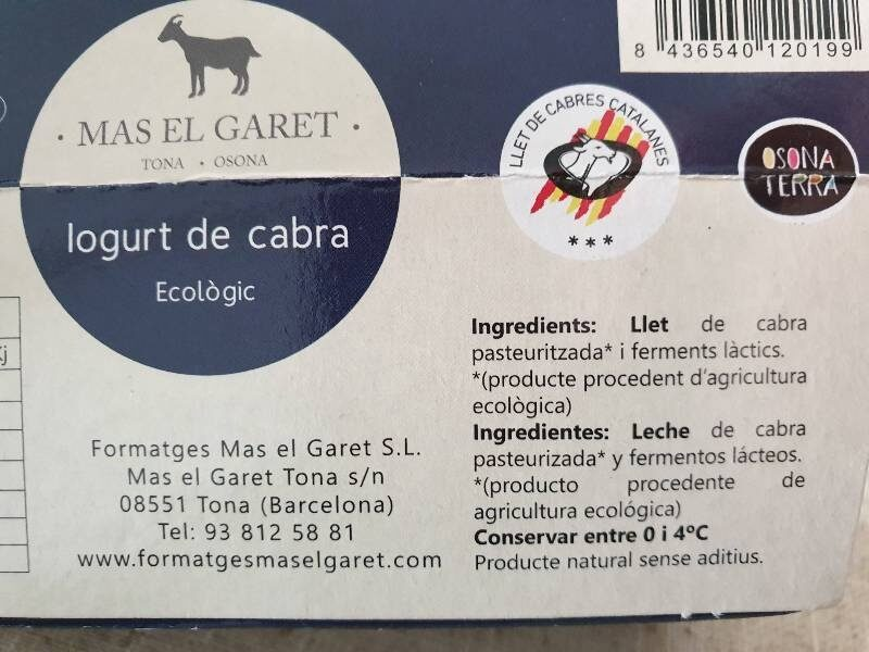 Iogurt de cabra - Ingredientes