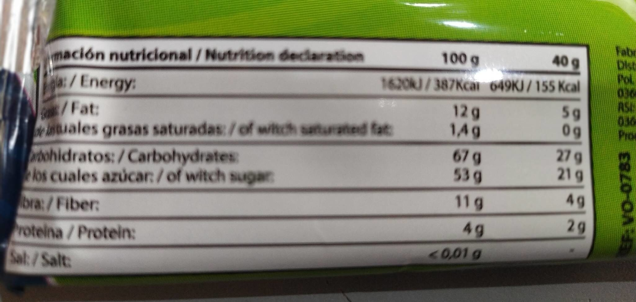 Energy bar - Nutrition facts