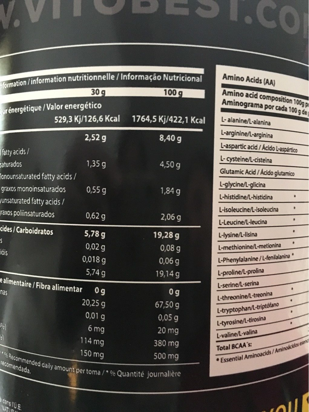 Whey amino complex - Informations nutritionnelles