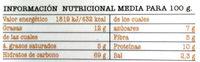 Crackiss - Información nutricional