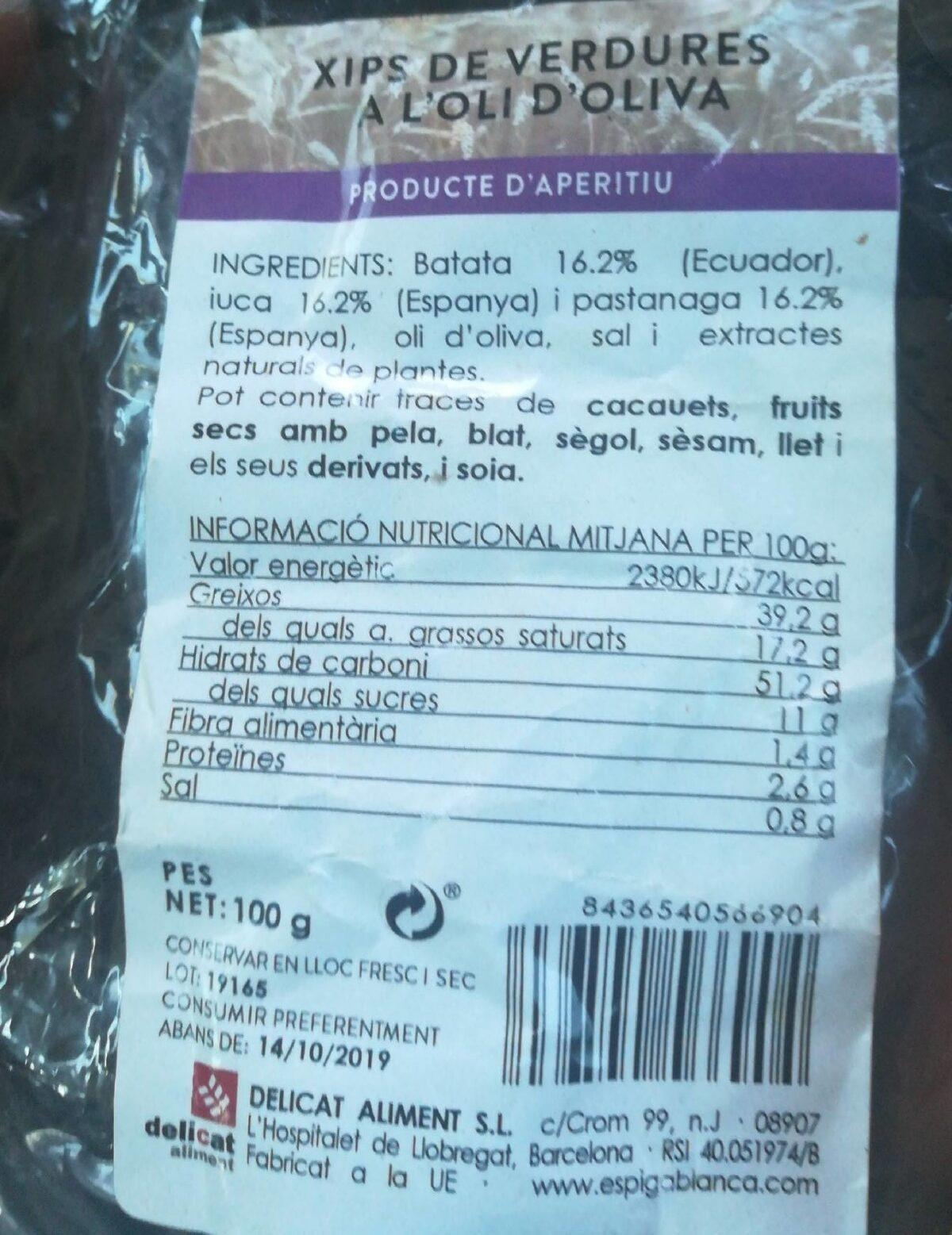 Xips Verdures Oli D'oliva Espiga Blanca - Información nutricional - fr