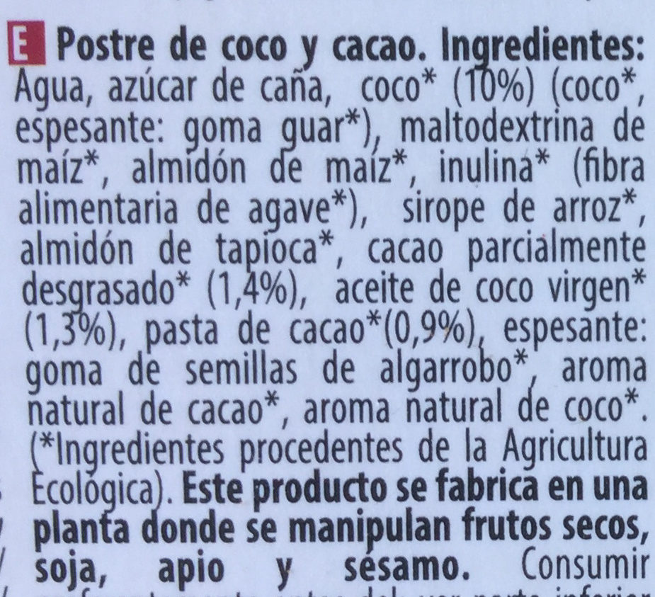 Coco Cacao - Ingredientes