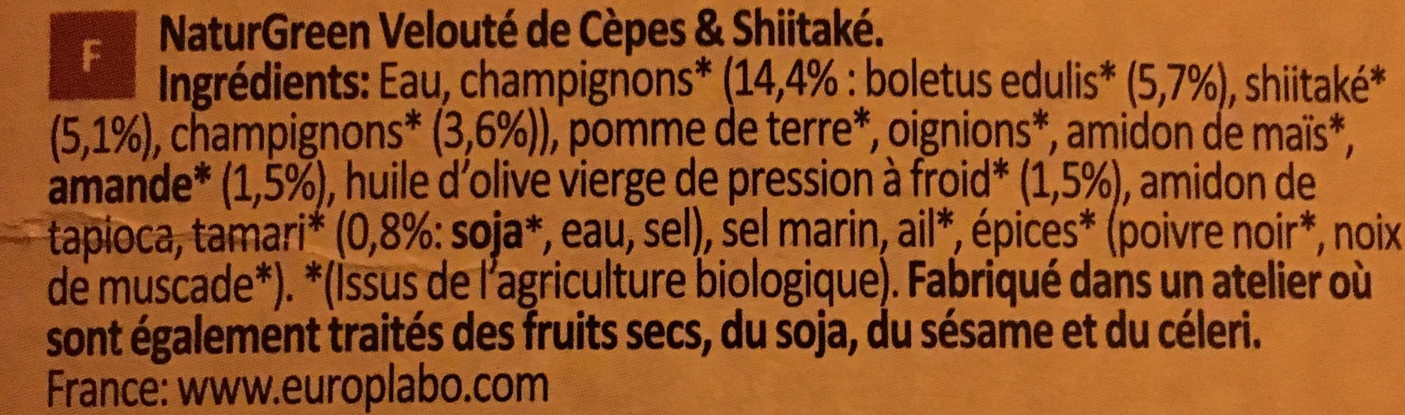 Veloute Cepes Shiitake S Gluten S Lactose - Ingrédients - fr