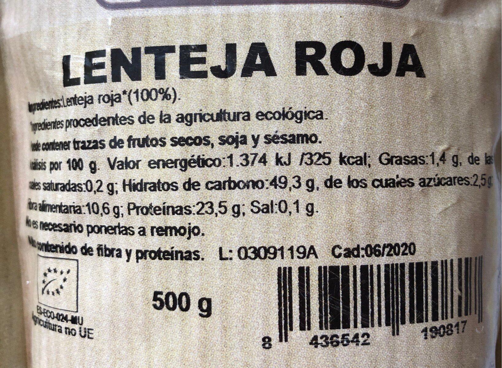 Lenteja roja - Nutrition facts