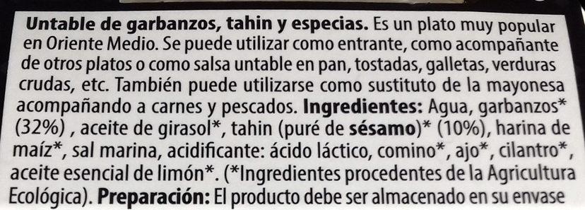 Hummus - Ingredients - es