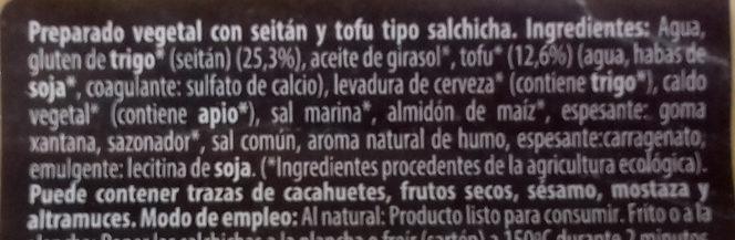 Salchicha Vegetal Seitán y Tofu - Ingredients