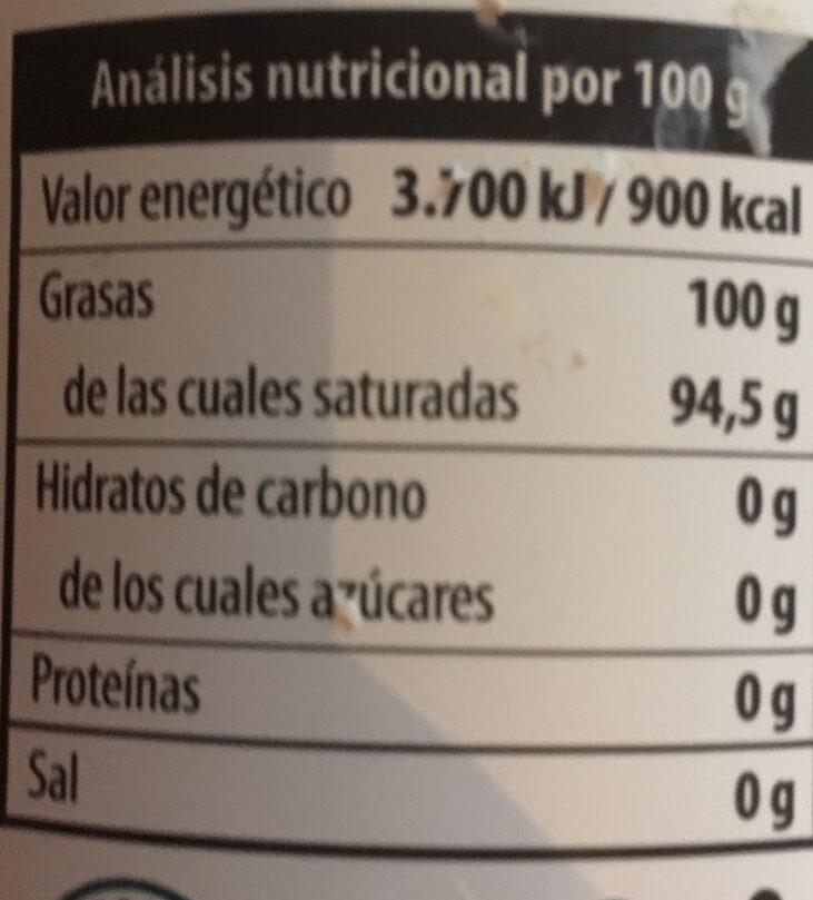 Aceite de coco virgen extra - Información nutricional - es