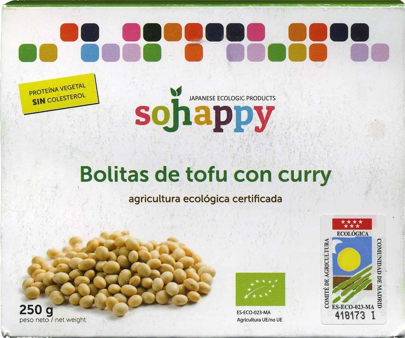 """Tofu ecológico """"Sojhappy"""" En bolitas. Al curry - Producte"""