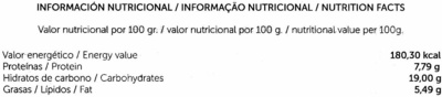"Tofu ecológico ""Sojhappy"" Al curry - Informations nutritionnelles"