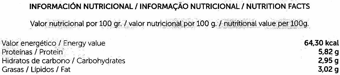 Hamburguesas vegetales con verduras - Informations nutritionnelles - es