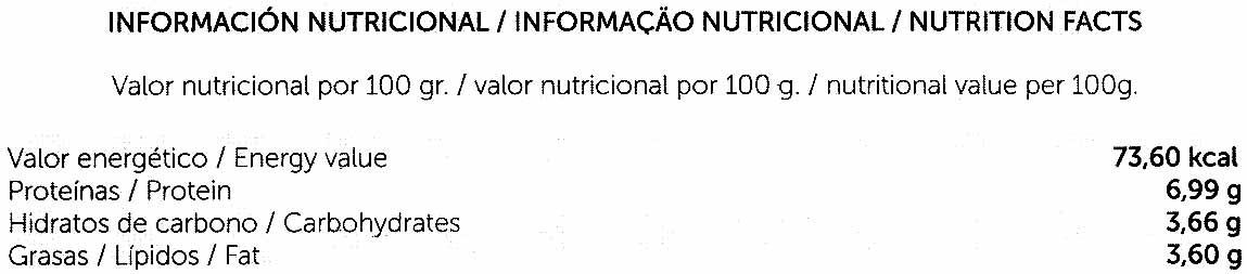 Hamburguesas vegetales Tofu al miso - Información nutricional