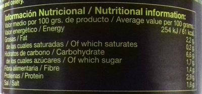 Curry Vegano - Información nutricional