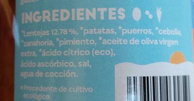 Lentejas con verduras - Ingredients - es