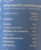 Lentejas con verduras - Informació nutricional - es