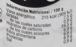 Hummus de piña - Información nutricional