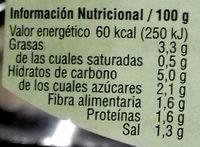 Coliflor con pimiento del piquillo y chía - Informació nutricional