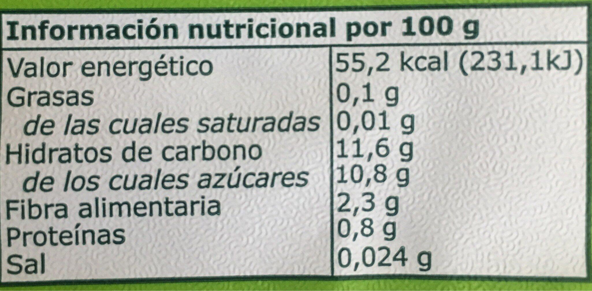 Puré de frutas 100% fruta - Informació nutricional