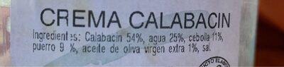 Crema de Calabacin - Ingrédients - es