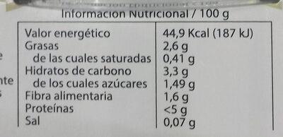 Crema de calabacín - Información nutricional