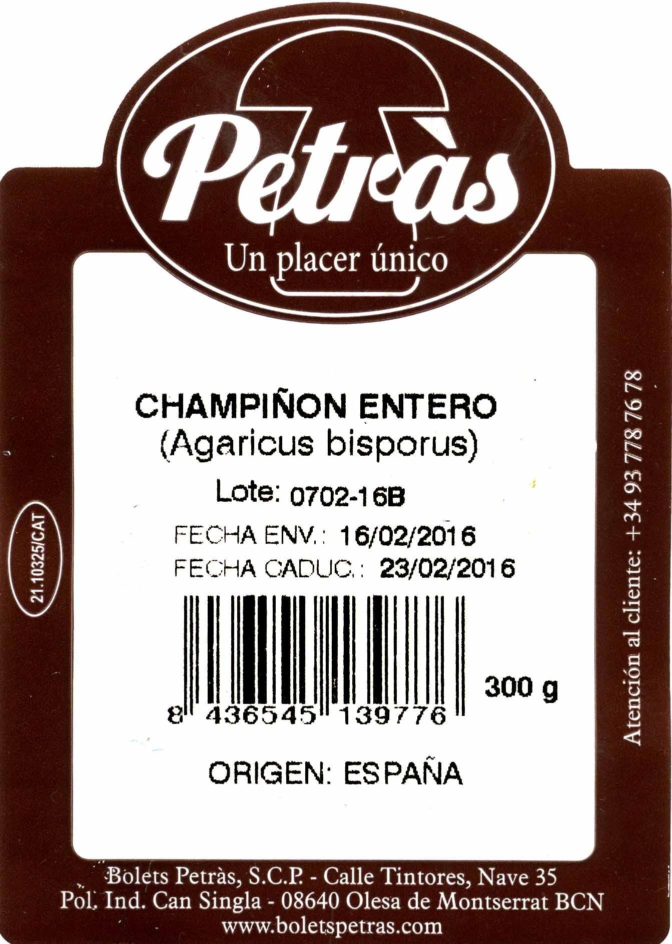 Champiñón entero - Ingredientes - es