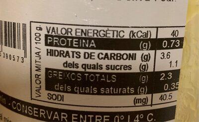 Crema de carbassa - Informations nutritionnelles - es