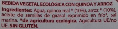 Bebida de Quinua Real y arroz - Ingredientes