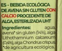 Bebida avena con calcio - Ingredients - es