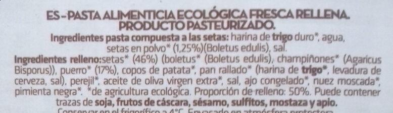 Pasta fresca ecológica rellena de setas - Ingredientes - es