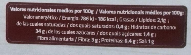 Pasta fresca ecológica rellena de setas - Información nutricional - es