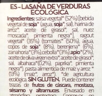 Lasaña de Verduras - Ingredients