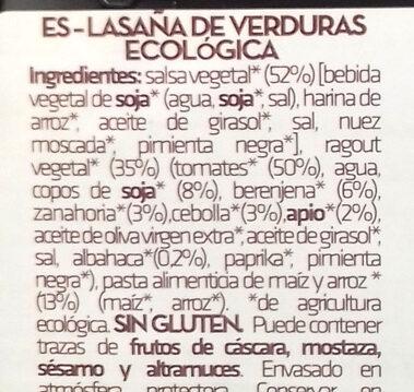 Lasaña de verduras ecológica y sin gluten - Ingrédients - es