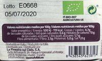 Lasaña de verduras ecológica y sin gluten - Informations nutritionnelles - es
