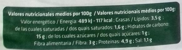 Pasta rellena espinacas - Informació nutricional - es