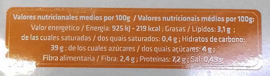 Pasta rellena calabaza - Informació nutricional - es