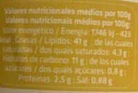 Vegan mayonesa - Informació nutricional - es