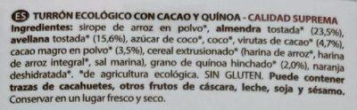 Turrón de cacao - Inhaltsstoffe - es