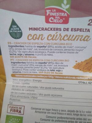 Minicrackers de espelta con cúrcuma - Ingredientes - es