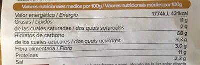 Minicrackers de espelta con cúrcuma - Informations nutritionnelles - es