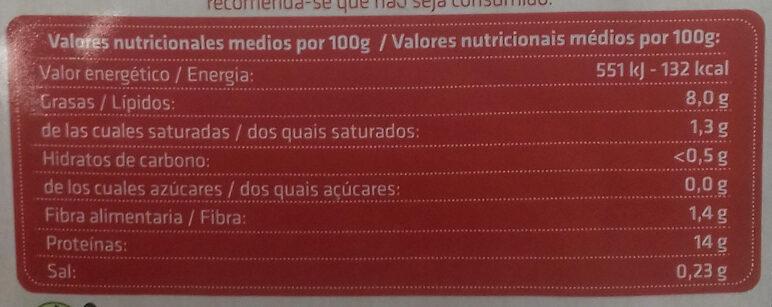 Tofu natural sin gluten - Informació nutricional - es