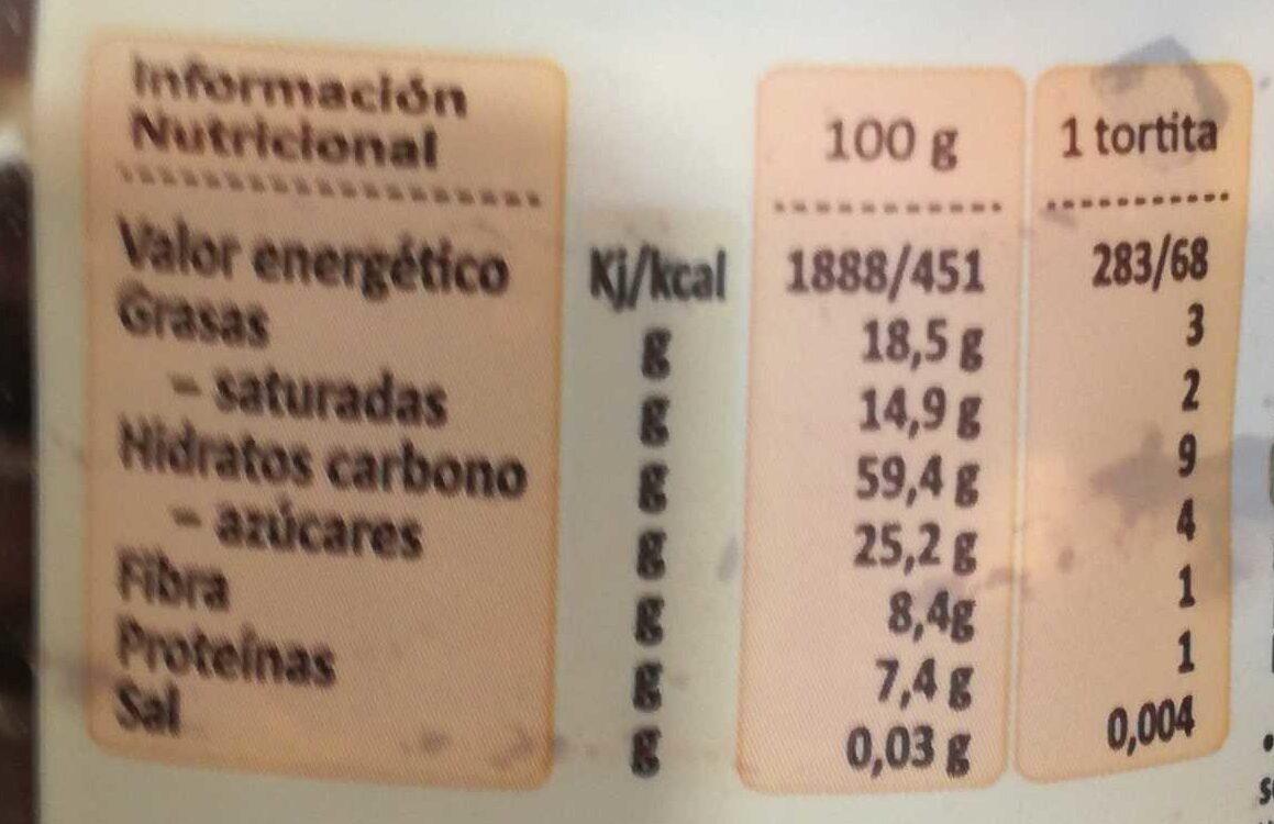 natura tortitas choco - Nutrition facts
