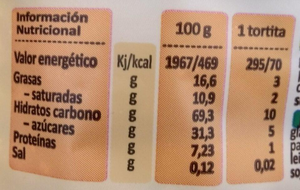 Tortitas saciantes naranja - Información nutricional - es