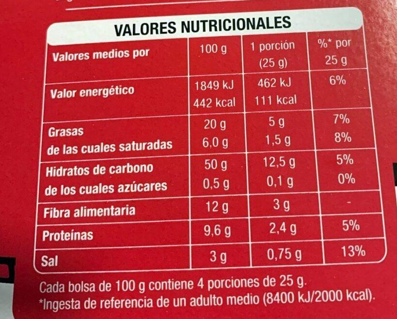 Palomitas con sal - Valori nutrizionali - es