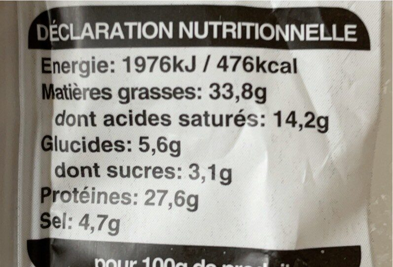 Fuet extra - Valori nutrizionali - fr